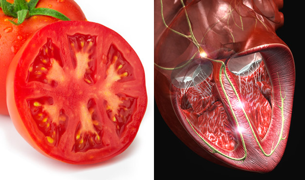 how to cut a tomato into a heart